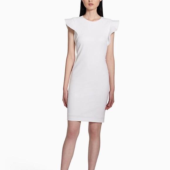 ea7b085b Calvin Klein Dresses | White Ruffle Sleeves Sheath Dress | Poshmark